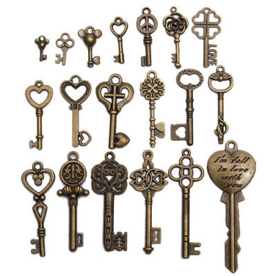 19 Pcs Antique Vintage Old Look Skeleton Key Set Lot Pendant Heart Bow LockSteam