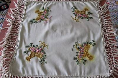 Antique Victorian Cushion Cover Embroidered Floral Baskets Fringe Shabby Chic
