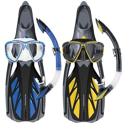 Mirage Platinum Silicone Snorkel Mask Fin Set Sizes S-2XL