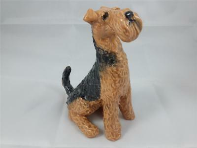 Airedale Terrier Dog Artist Signed Ceramic Sculpture Figurine Statue OOAK