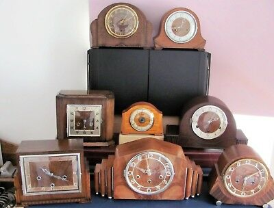 Vintage mantle clocks working + keys 8 collectables art deco westminster chimes