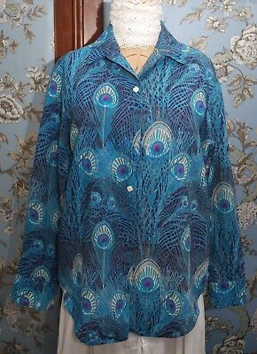 Gorgeous Liberty Fabric Hera Peacock Design Shirt NO LABEL For Some Repairs