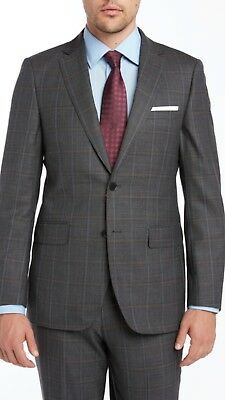 Charcoal windowpane 100% Wool Enzo super 150s premium suit. 2 button Modern fit