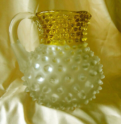Hobbs Brockunier Frances Ware Hobnail Gold & Frosted Square Top Pitcher