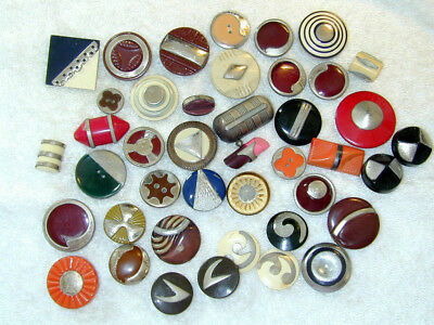 Antique Vintage Celluloid Buttons Lot of 42 all w Metal Embellishment on Face