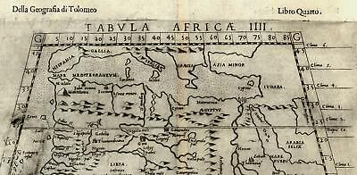 North Africa Nile source Mts. of Moon 1599 Ruscelli fine old miniature map