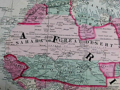 Africa continent w/ views Mts. of Moon named c.1864 fine large old map