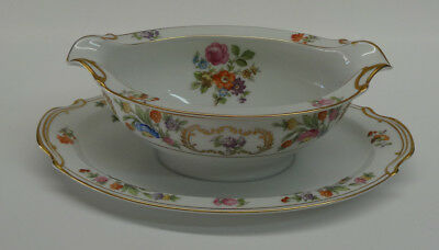 Noritake China Dresalda #4727 Gravy Boat Attached Liner