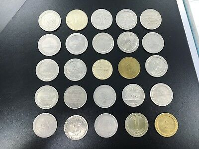 LOT OF 25 ONE DOLLAR Metal GAMING Coins DIFFERENT TOKENS Las Vegas CHIP AC MORE!