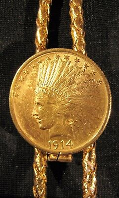 1914 Indian Head Eagle $10 Gold Ten Dollar Coin Vintage Bolo Tie *No Reserve*