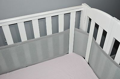 Cradle breathable bumper Grey, breathable mesh crib liner for Portable/Mini crib