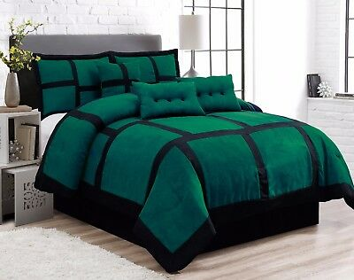 7 Piece Patchwork Green Black Micro Suede Comforter Set King Size