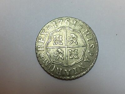 1761 Spain 2 Reales Charles III silver coin NO RESERVE auction
