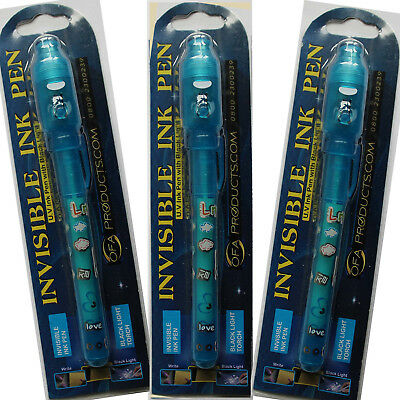 3 Boys Blue Invisible Ink Spy Pens & UV Light Kids Spy Game Write Secret Message