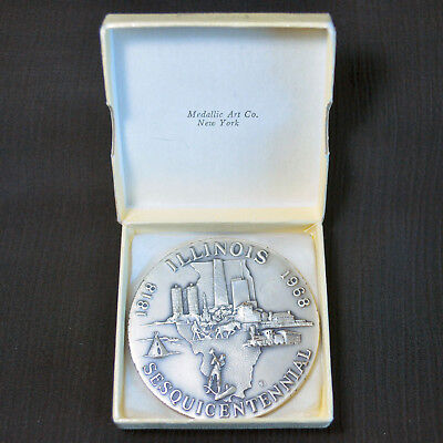 1968 Illinois Sesquicentennial, Medallic Art Co, Large 999 Silver Medal