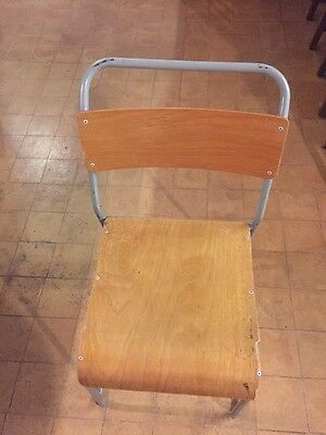 1950,'s Vintage Metal And Plywood Stackable Chair 84cm X 40cm X 44cm