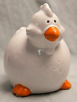 Chicken Coin Bank White Orange with Stopper