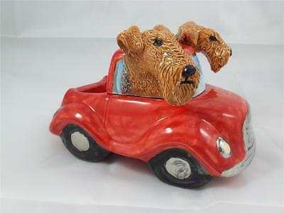 Two Airedale Terrier Dogs in Car Cookie Jar Ceramic Sculpture Figurine OOAK