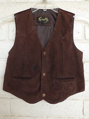 Boy Girl Brown Suede Leather Vest by Scully - Size Youth XL - Halloween Costume