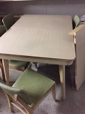 Mid-century modern kitchen table and chairs, original vinyl upholstery, & 1 leaf