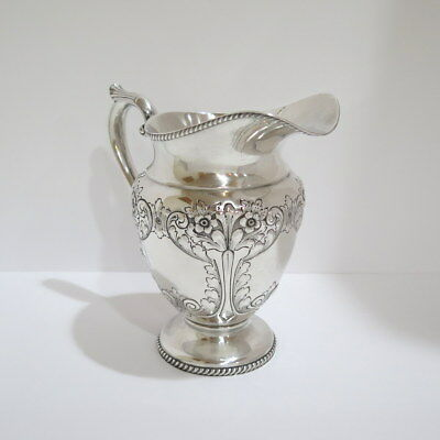9.5 in - Sterling Silver Durham Antique Hand Chased Flower Water Pitcher