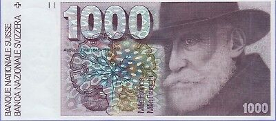Switzerland 1000 Francs Banknote 1977 Choice About Uncirculated Cat#59-A-1885