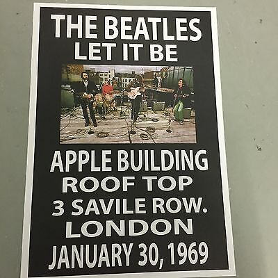 BEATLES - CONCERT POSTER ROOF TOP SAVILE ROW LONDON 30th JANUARY 1969 (A3 SIZE)