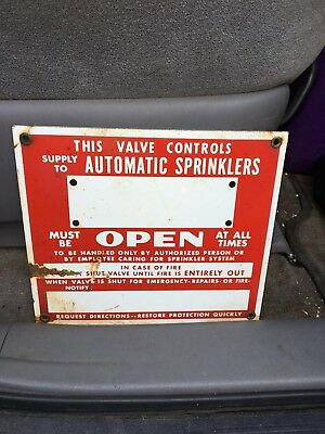 "1950's 9"" Automatic Sprinkler Porcelain Sign"