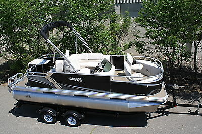 New 18 ft by 7 ft pontoon boat with 40 four stroke and a single axle trailer