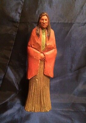 Wood Sculpture By Artist Devereaux Of Southern Plains Native Signed '88