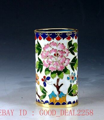 Chinese  Cloisonne Hand-painted Flower Brush Pots JTL031