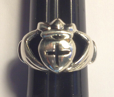 Claddaugh Ring With Hands, Crown, Heart & Cross, Size 4.75, 925 Sterling Silver