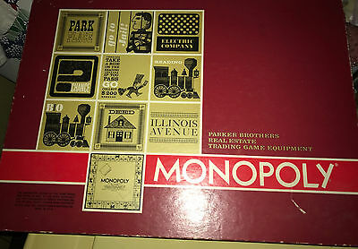 Vintage 1964 Parker Brothers - Large Red Box MONOPOLY Board Game