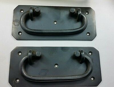 Rare solid pair of antique vintage box handles trunk carrying handle chest #P11