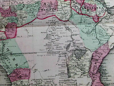Africa Mts. of Moon Liberia Cape Colony 1864 Johnson Ward scarce large old map