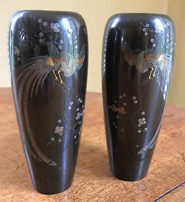 Pair of Antique Japanese Cloisonne Peacock & Cherry Blossom Vases