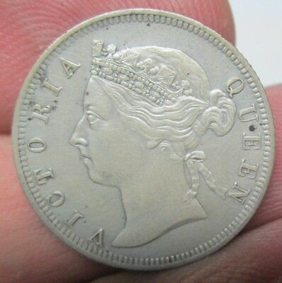 1900 British Straights Settlements Queen Victoria 20 Cents Silver Coin No Res