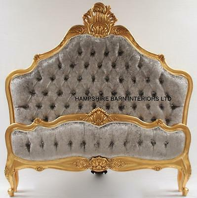 Gold Leaf King Size Bed W Silver Crushed Velvet Crystals French Style Ornate