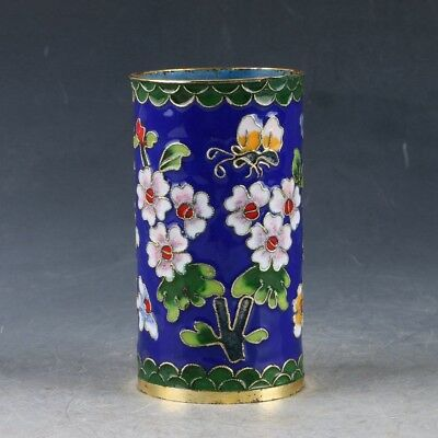Chinese Cloisonne Handwork Carved Flowers & Butterflies Pen Holder EP0313