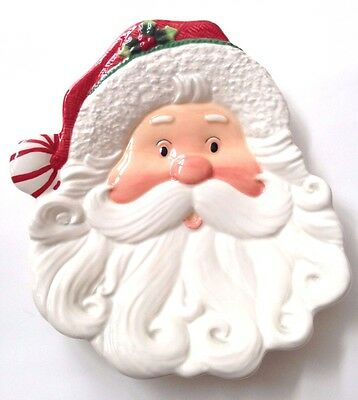 """CHRISTMAS Fitz & Floyd """"Peppermint Santa"""" 10"""" Canape Plate! FREE SHIPPING!"""