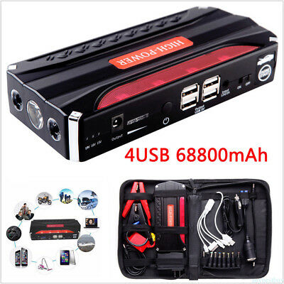 12V 68800mAh Car Jump Starter 4USB Battery Power Bank Rechargable Multi-Function