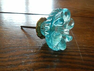 Ice Blue Turquoise Glass Door Knob or Curtain tie back  Antique Pressed glass
