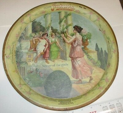 1917 Fehr's Ambrosia Tray, Louisville KY, Tin Beverage Advertising 13in