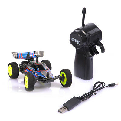 1/32 2.4G USB Rechargeable Mini RC Racing Car Toy W/Remote Control Kid Gift Blue
