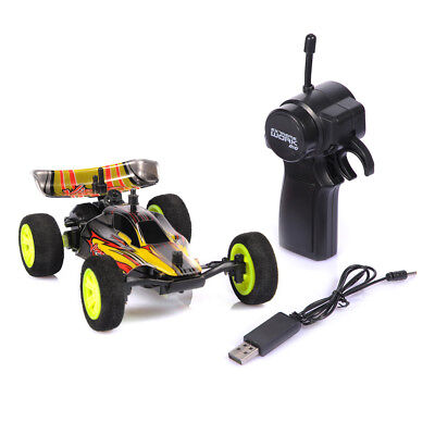 1/32 2.4G USB Rechargeable RC Racing Car Toy W/Remote Control Kid Gift Yellow