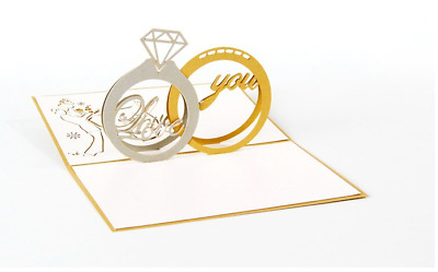 Wedding Ring Pop Up 3D Handmade Greeting Card with Envelope GOLD