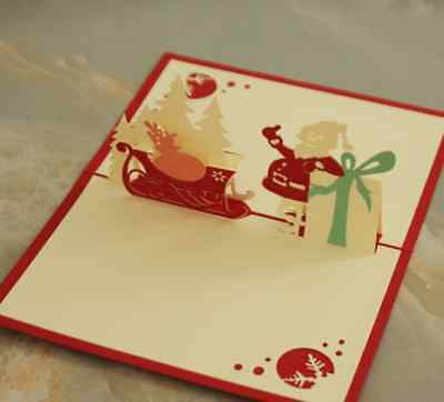 Merry Xmas Christmas Pop Up 3D Handmade Greeting Card with Envelope