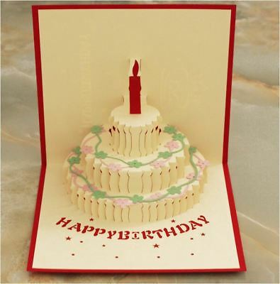 Happy Birthday + Cake Pop Up 3D Handmade Greeting Card with Envelope Red