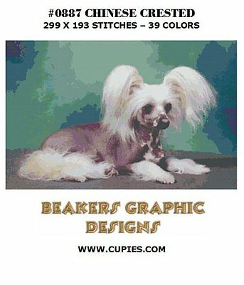 CHINESE CRESTED Counted Cross Stitch detailed #0887