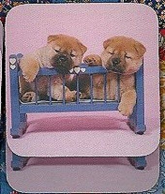 CHOW CHOW PUPPIES in Crib Rubber Backed Coasters #0628